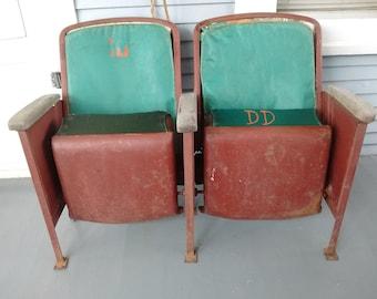 Vintage, Movie, Theater, Seats, Bucket Seats, Metal, Upholstered, Living Room Furniture, Teen Room Furniture,  RhymeswithDaughter