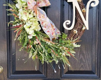 Large Grapevine Wreath Personalized Monogram Initial Wedding Ribbon Spring Summer Mothers Day Year Round Door Wreath