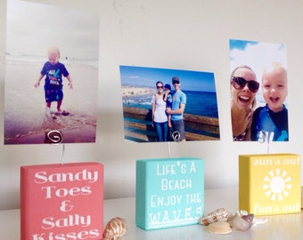 Photo Holder- Picture Holder- Wire Photo Holder- Photo Blocks- Photo Display Blocks- Summer Photo Display Blocks- Summer Decor- Wire Picture