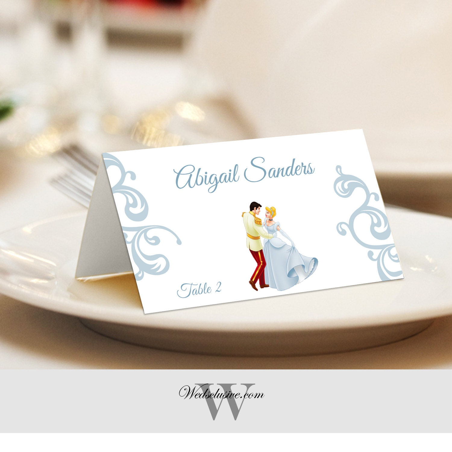 Cinderella And Prince Place Cards Wedding Escort Cards