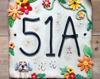 House number sign, address number plaque, Ceramic, Orange Flowers and Pets Design