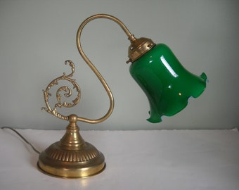 Large Gooseneck Lamp with Green Glass Shade   2 Available