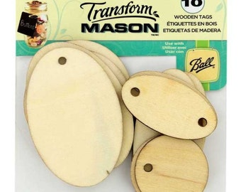 10 Wooden Tags Oval & Round Transform Mason Canning Jar Wood hanging hang gift label ball mason kerr atlas Loew Cornell 1026271