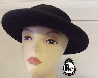 Vintage Women's Hats 1970's  Black Felt Hat Bowler Hat with Black Grosgrain Ribbon No. 122