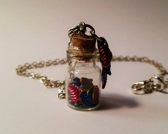 Pocahontas Vial Necklace - Disney Pocahontas Inspired - Handmade Corked Glass Bottle - Colored Leaf Charms
