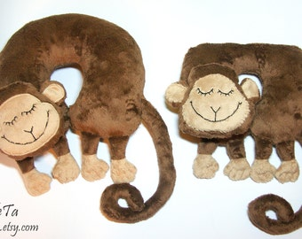 Neck Support Cushion Pillow - Monkey Pillow Toy - U-Shaped Pillow - Plush Animal Sleeping Monkey