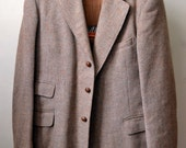 Vintege RARE Pre-Orb HARRIS TWEED Brown Flecked Sport Coat Hacking Jacket British Approximately Size 40