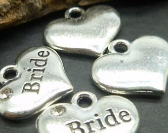 10 Bride Charms - Antique Silver Wedding Charms in BULK -MC0820