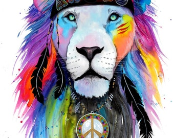 Hippie Lion- -- original