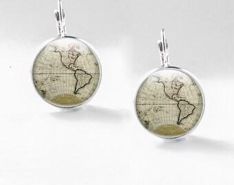 World Map Earrings - Globe Earrings - Glass Map Earrings - World Earrings - Map Jewellery (WME2)
