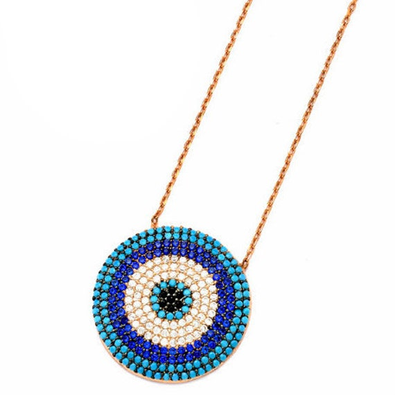 Evil eye necklace silver 925 rose gold plated with zircons