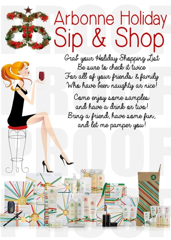 Arbonne Holiday Sip And Shop Invitation Download
