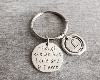 Shakespeare Quote, Though She Be But Little She Is Fierce, Inspirational Quote, Silver Keychain, SIlver Keyring, Fitness, Strength, Gifts