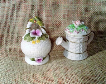 Pair of Miniature Floral Figurines - White Porcelain Woven Basket Design with Colorful 3D Flowers - Watering Can, Bulbous Bell - Lefton