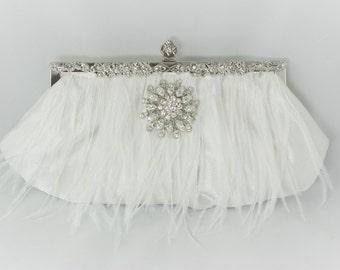 Luxury Bridal Clutch, Feather Bridesmaid Clutches, Ostrich Feather Clutch, Crystal Clutch Bag, White Wedding Handbag, Bridal Feather Clutch