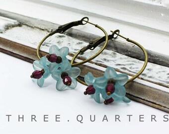 Earrings, Hoops, light blue, blue, purple, violet, flowers, metal, beads, amethyst, flowers, round, antique, bronze, vintage