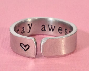 Stay Awesome Secret Message Cuff Ring, Inspirational - Gift Under 20
