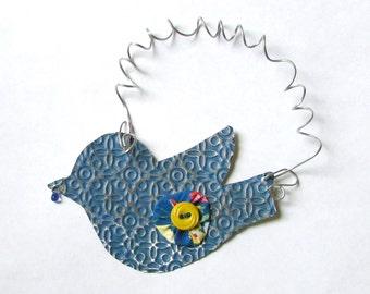 Blue Bird - Bird Ornament - Metal Bird - Bird Wall Decor - Recycled Ornament - Eco Friendly Ornament