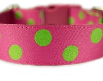 """Pink  Dog Collar 1"""" Polka Dot Dog Collar Green Dog Collar"""