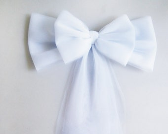 White Tulle Pew Bow, BULK DISCOUNT Set of 10, Church Pew Bow, Wedding Pew Bow,  Bridal Shower Bow,Wreath Door Mailbox Church Decoration