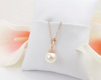 FREE US Ship Rose Gold Pearl And CZ Bridal Necklace Pearl Solitare Bridal Necklace Rose Gold Filled Cz Bridal Necklace Rose Gold Deco