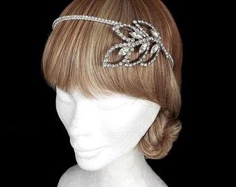 Vintage Art Deco Headpiece, Bridal Headpiece, Leaf Headband, Wedding Headband, Art Deco Headband, Rhinestone, Diamante, Leaves, 1920's, OOAK