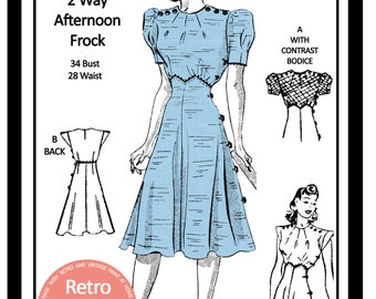 1930s  Tea Frock Sewing Pattern - Full Size PDF Dress Sewing Pattern - PDF  Instant Download