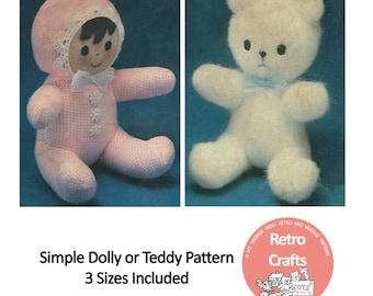 Mini Doll Sewing Pattern - PDF Toy Pattern - Instant Download - Doll Pattern