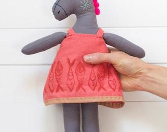 Clementine - Donkey Stuffed Animal Doll - Soft Sculpture, Soft Toy, Cloth Horse, Cloth Doll, Rag Doll, Fabric Doll, Plushie, Softie Art Doll