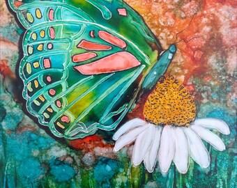 Alcohol ink art. Butterfly Garden XII
