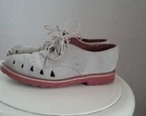 esprit suede saddle shoes slips dove gray pink soles size 7 women's marion preppy 80s 90s style fair good classic pretty