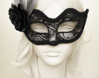Silver And Black Lace Masquerade Mask  -  Silver Venetian Mask With Black Feather And Satin Rose- Silver Lace Masquerade Ball Mask