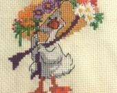 Vintage Sampler Mother Goose Completed Finished Cross Stitch Nursery Decor Frameable Wall Art
