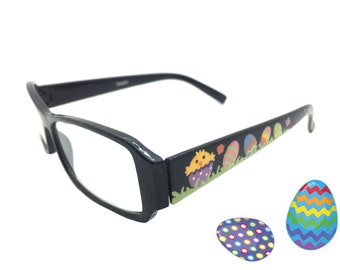 Women's 1.75 Strength Hand Painted Easter Reading Glasses with Chicks, Easter Eggs, White Bunny, Easter Basket, Butterflies, and Polka Dots