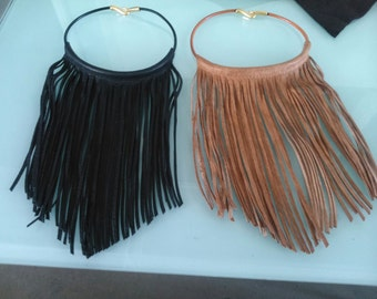 INDIAN NECKLACE - fringes leather necklace - fringes necklace - leather necklace - woman necklace - long necklace - boho necklace -