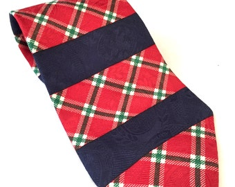 Tommy Hilfiger Plaid Patchwork Tie, Plaid Christmas Tie, Red, Green, Navy Plaid Tie, Patch Necktie, Striped Tie, Holiday