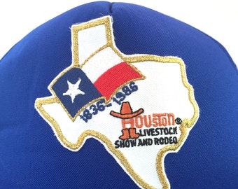 Blue Houston Livestock Show and Rodeo Trucker Style Hat, Blue Mesh Back Cap, Baseball Snapback Cap, Houston Texas Shape and Flag Patch