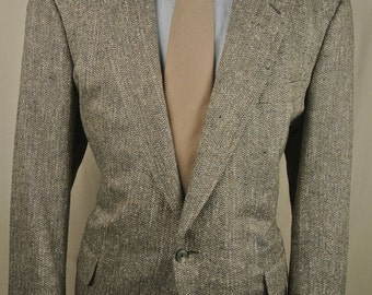 Corbin Brown/Cream/Green Herringbone Linen Two Button Sport Coat Men's Size: 44R