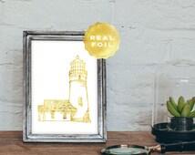 Gold Lighthouse Real Foil - Lighthouse Art Print - Lighthouse Decor - Gold Nautical Decor - Nautical Wall Art - Gold Foil Prints