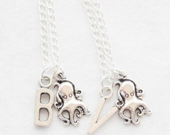 Dainty Friendship Necklaces 2 Tiny Octopus Necklaces Silver Octopus Necklace Set of 2 Octopus Necklaces Gift Set of 2 Nautical Necklaces