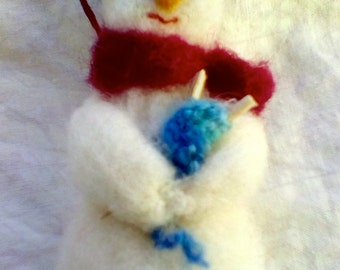 Needle Felted Knitting Snowman Ornament