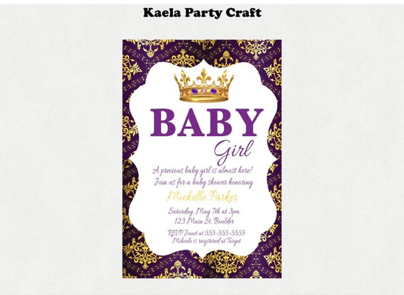 purple and gold baby shower invitation purple and gold baby shower