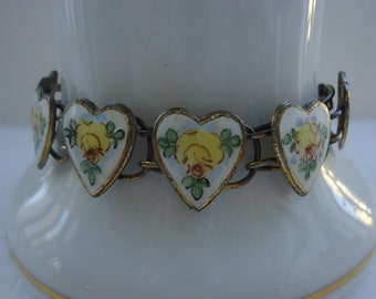 Enameled Heart with Yellow Roses Bracelet - Bliss Bros.