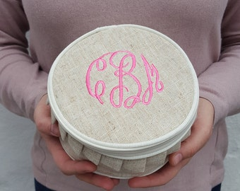 Monogrammed Linen Ruffle Jewelry Case | Multiple Colors | Gift for Her | Monogram Jewelry Travel Case
