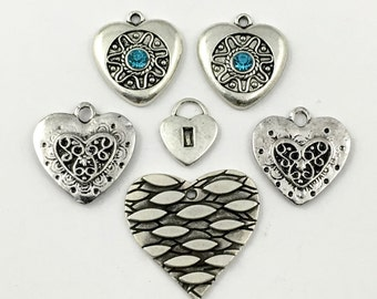 6 heart charms ,silver tone and glass cabochon, 15mm x 28mm # CH 287