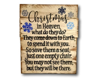 Christmas In Heaven Sign/ Christmas Decoration / Rustic Wood Christmas Decor