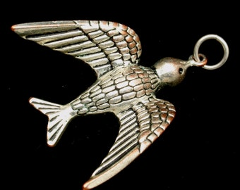 Bird Pendant Silver Tone Metal Very Detailed FLY