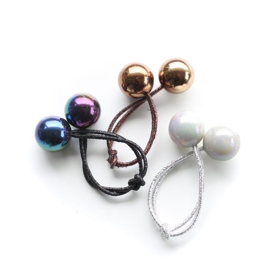 GLAM HAIR BOBBLES. Set of 3. Retro Hair Ties Bobbles. Black Pearl, White Pearl, Bronze Mirror