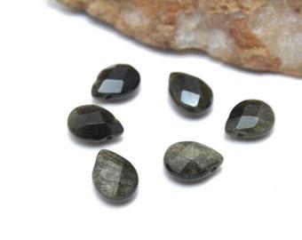Faceted Black Obsidian Teardrops Top Side Drilled 9x12mm 6pcs