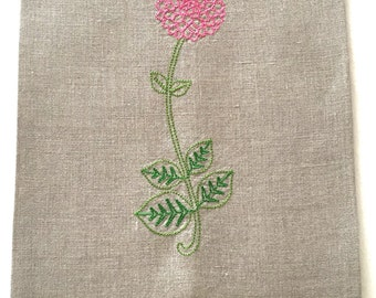 Embroidered Dahlia Tea Towel or Guest Towel on Linen, Vintage Floral, hostess gift, spring flowers.